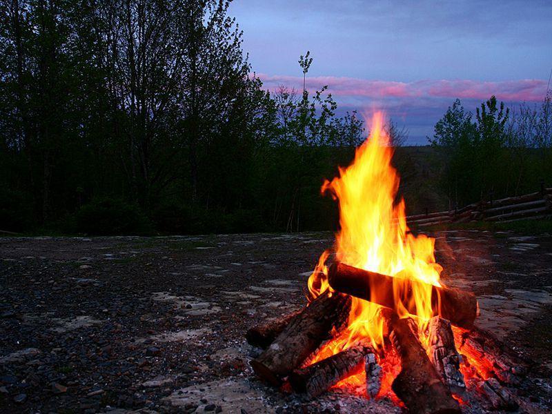 Campfire fall camping