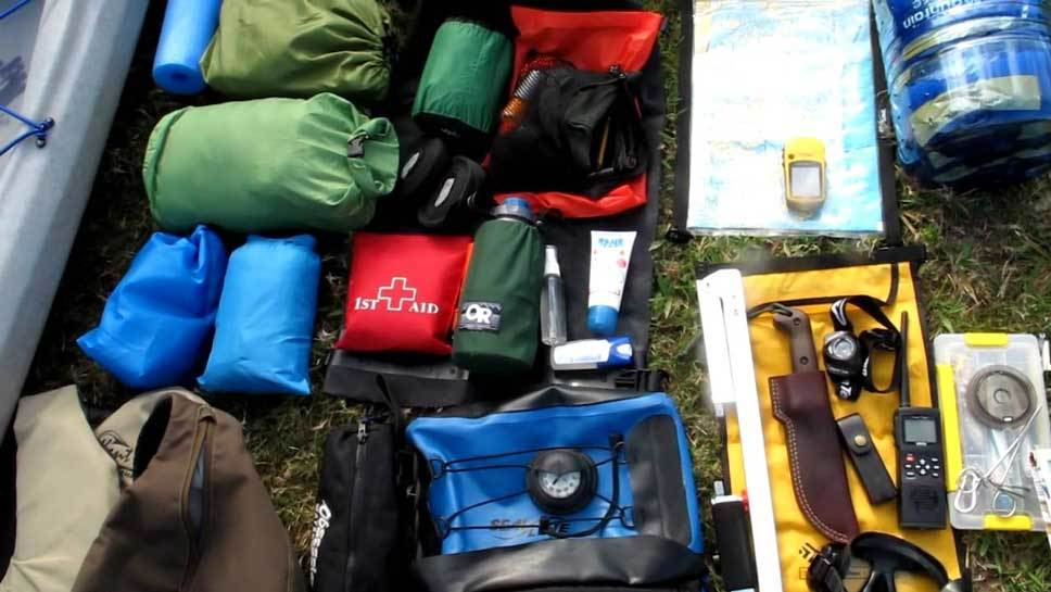 Pack and Food for Kayak Trip