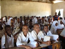 Maria's classroom of students, where she helped teach English for the month.