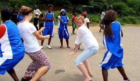 Maria and I had a dance competition with some of the young girls, they won.