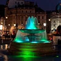 Illuminated Fountain, Trafalgar Square, London
