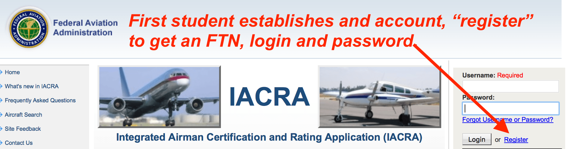 How to apply in iacra for a student pilot certificate safe iacrastudentregister acquireftn ftnsucess xflitez Images
