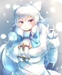 arctic fox kemono friends hair ears eyes winter drawn yellow tail fur blush coat animal safebooru respond edit danbooru