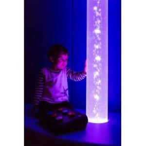 LUMINEA BUBBLE TUBE. The Luminea bubble tube stands out in the darkness and captivates the attention of anyone near it with its light and movement. This bubble tube helps create numerous atmospheres using its colours, vibration, sound, reflections, floating objects and interaction.