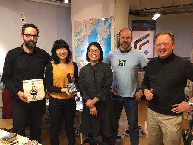 SEAN BONNER, YOKO KUMANO, KAYOKO AKABORI, JOE MAROSS, PIETER FRANKEN AT SAFECAST OFFICE, SHIBUYA – JANUARY 2016