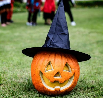 pumpkin decorated with a witches hat