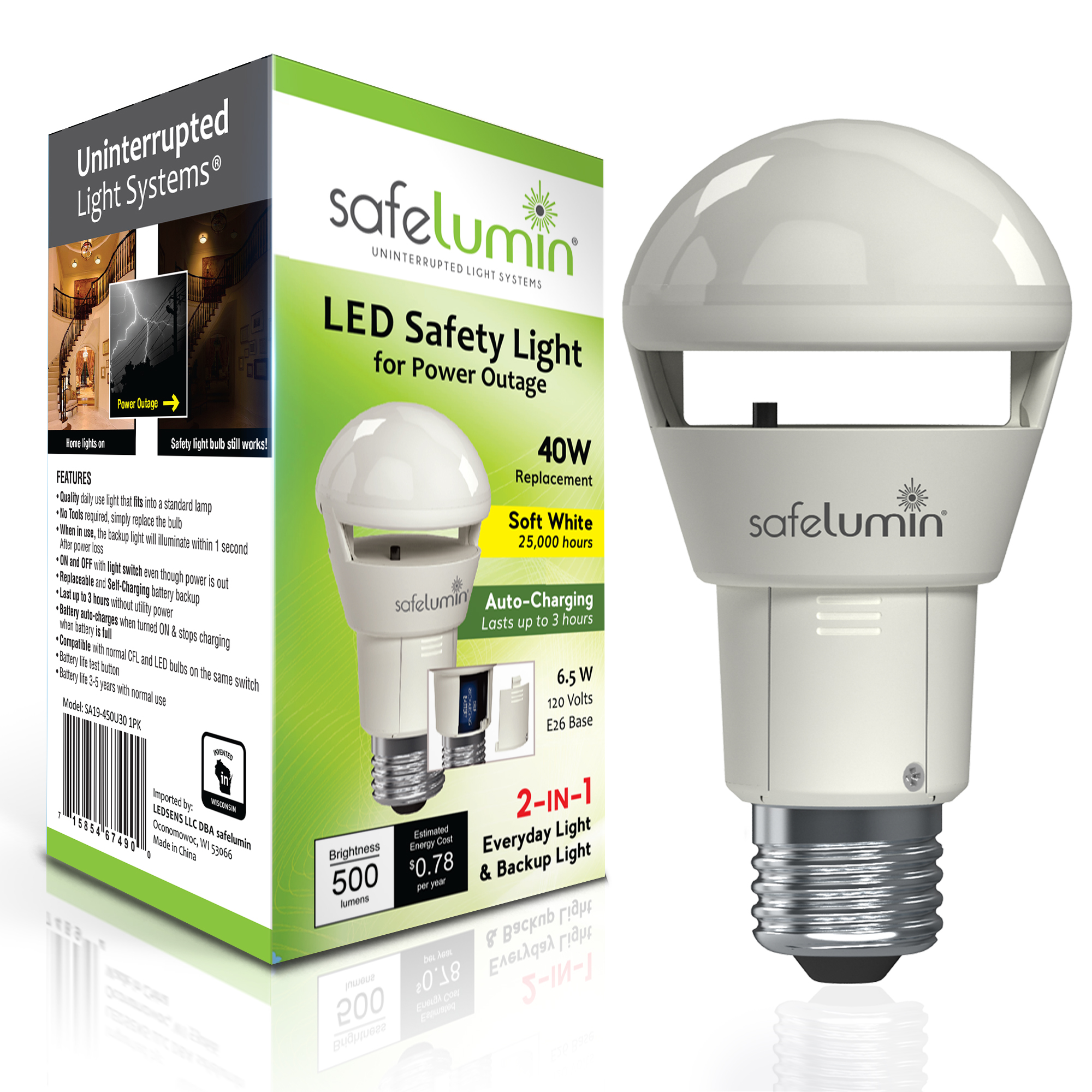 Safelumin 500lm 3000k 1pk Rechargeable Led Light Bulb