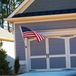 Garage with American flag