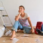 unhappy woman remodeling room