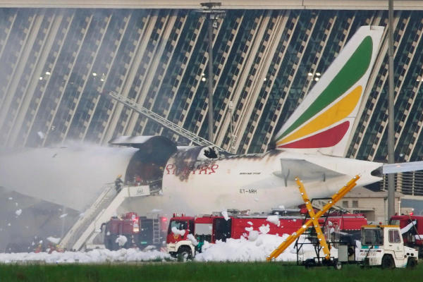 Ethiopian cargo plane goes up in flames in China