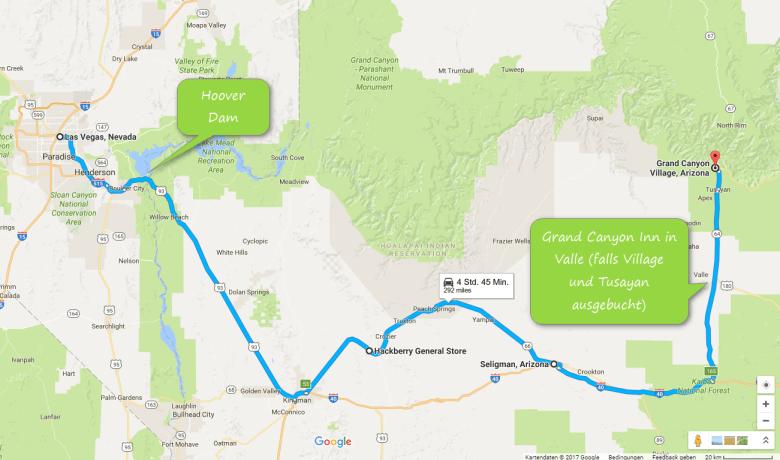 So kannst Du z.B. von Las Vegas zum Grand Canyon fahren