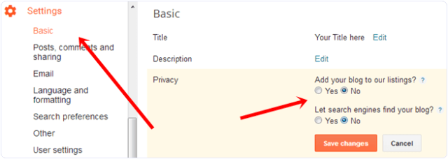blogger blog basic privacy settings