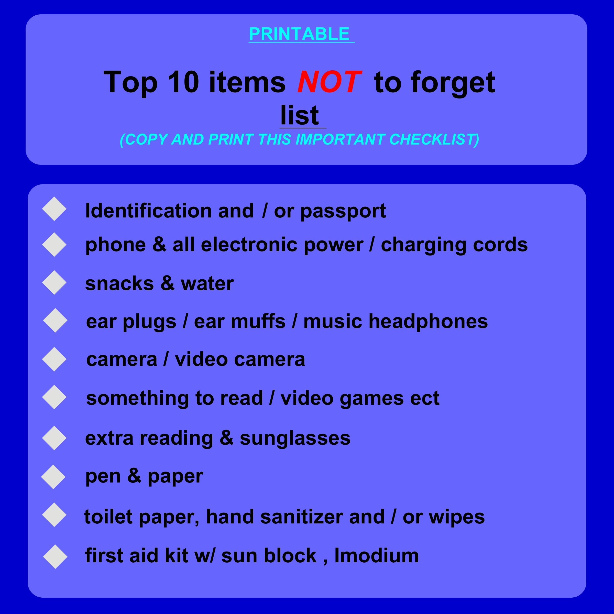 Traveling Checklist Images
