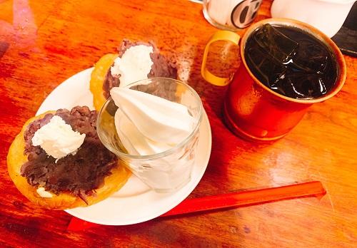 BUCYO COFFEEの小倉トーストとアイスコーヒー