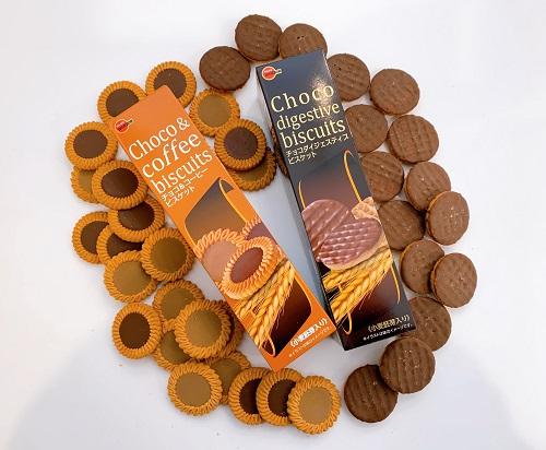 チョコ&コーヒービスケットとチョコダイジェスティブビスケットの商品写真