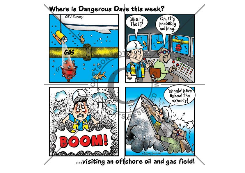 Dangerous Dave cartoon strip where they hit a submerged mine blowing them up