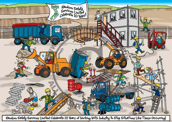 safety cartoon customization - health and safety cartoon based around a quarry with numerous hazards illustrated, like guy riding on conveyor belt, fork lift truck with unsafe load, oil drum leaking, guy block cutting without any PPE.