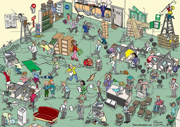 safety cartoon, Office Health and safety hazards cartoon. Hazards in a office environment. Spot the health and safety hazards cartoon. Numerous health and safety hazards illustrated in this office hazards cartoon. Health and safety cartoon for training purposes