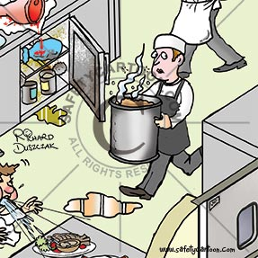 kitchen worker carrying a big container of food and about to slip on pool of liquid on floor, restaurant health and safety cartoon