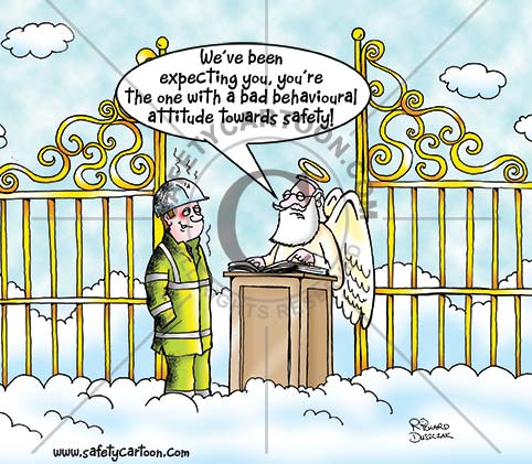 health and safety cartoon of worker in hi-vis workwear at Pearly Gates. Angel at lecturn saying they were expecting him because his bad attitude to safety precedures.