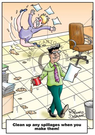 safety cartoon woman slipping on pools of tea that a work colleague has left a trail of. He is oblivious to as he walks reading papers