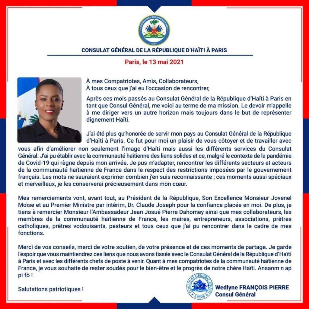 Wedlyne François Pierre fait ses adieux au Consulat Général de la République d'Haïti à Paris