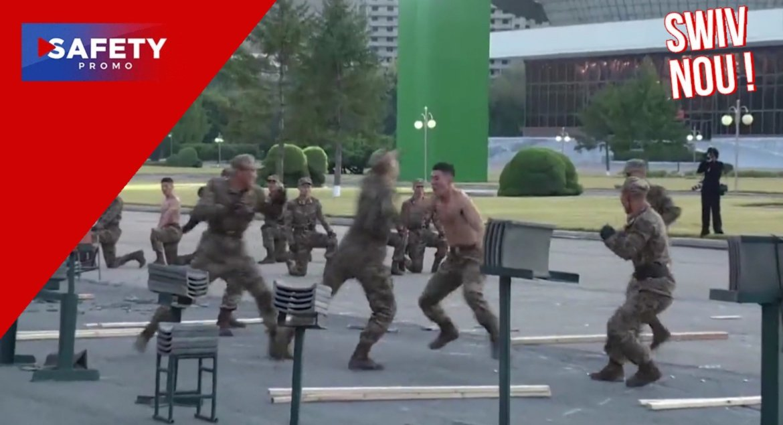 Les soldats nord-coréens cassent des briques et tordent des barres de fer à l'entraînement