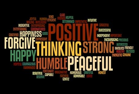 Positive words info-text graphics and arrangement concept on black background (word clouds)
