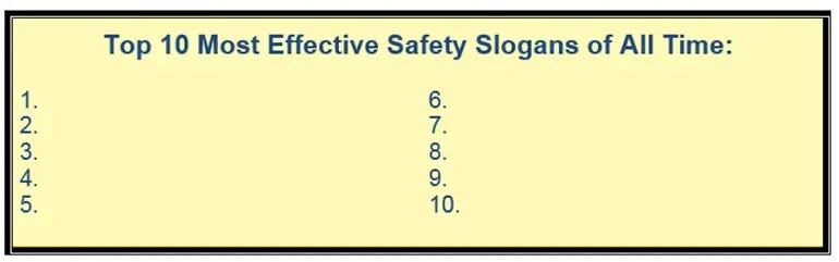 effective safety slogans