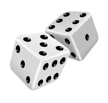 Two white dice