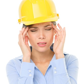 Engineer or architect woman worker headache stress
