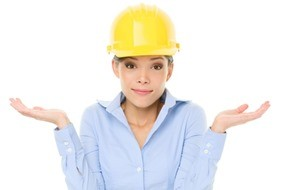 Engineer, entrepreneur or architect woman shrugging
