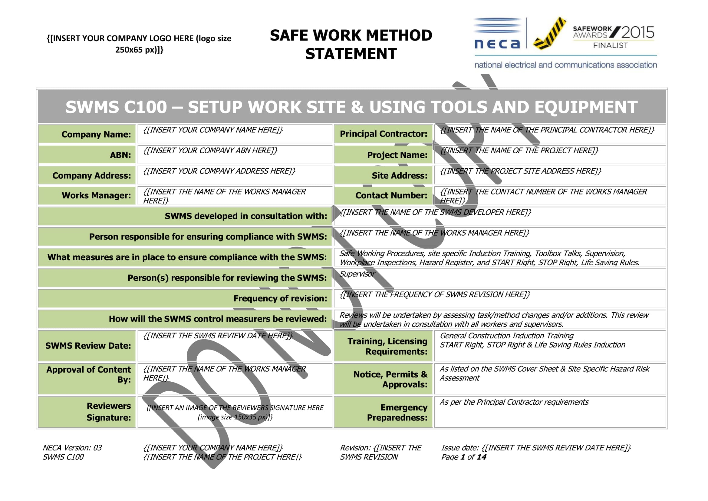 Set Up Of Work Site Amp Using Tools And Equipment Swms