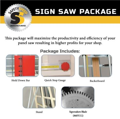 panel saw accessory package for sign makers