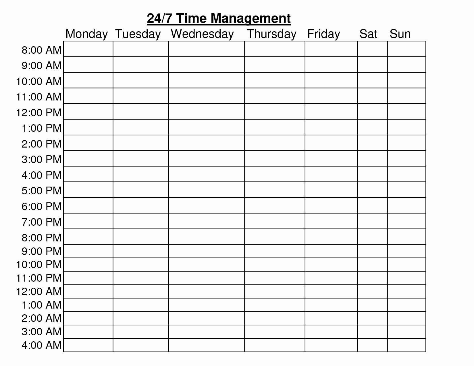 7 Days Week 24 Hour Schedule Ms Word Template
