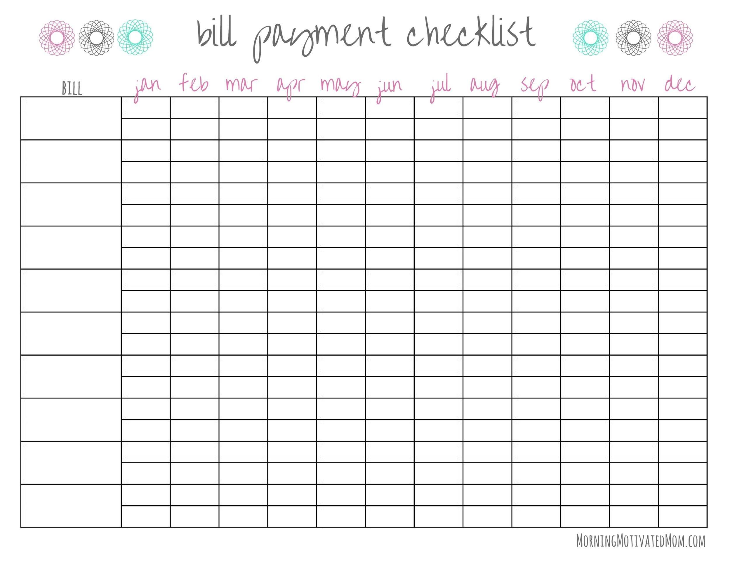 Monthly Checklist Template - Example Calendar Printable