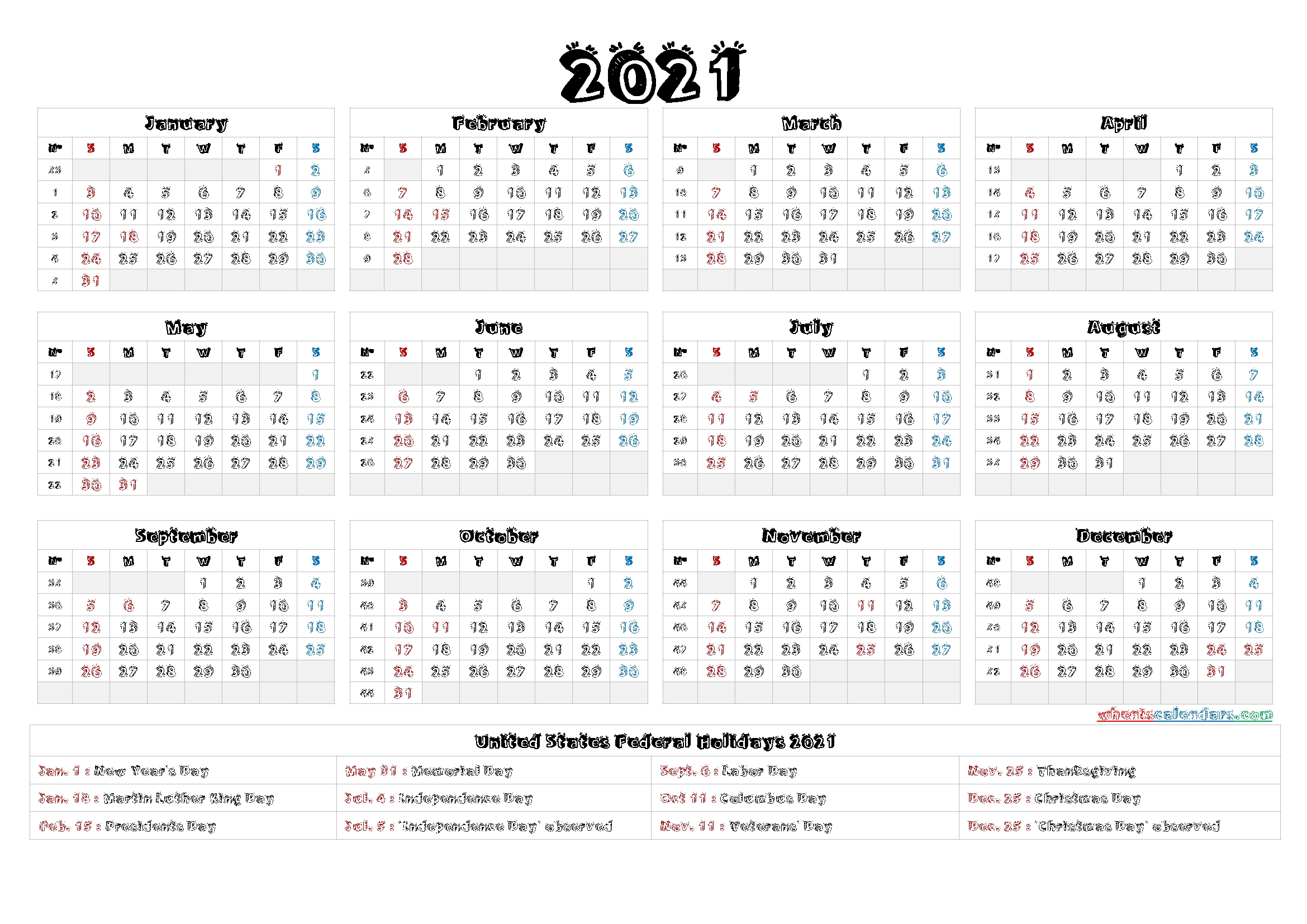 This is a traditional yearly calendar but is great for those who have a lot going on … 4Mmonth Calendar On One Page 2021 - Example Calendar Printable