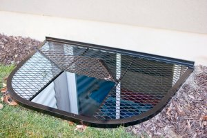 Wire Mesh Metal Window Well Covers with Escape Door in Salt Lake, Utah - Safewell Window Well Covers