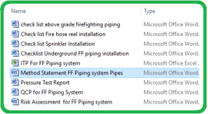 Method Statement FF Piping system Pipes