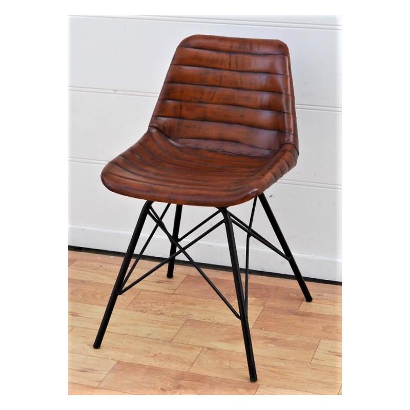 stoel  leder buffel cognac  metalen onderstel