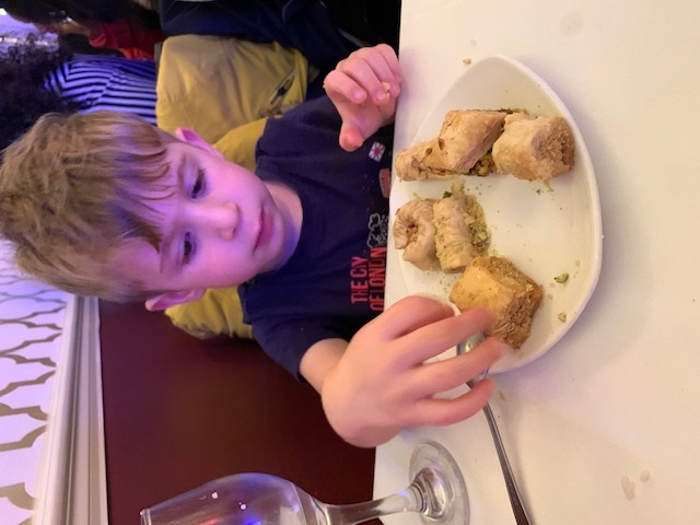 Eating baklava in Orjowan in London after seeing dinosaurs