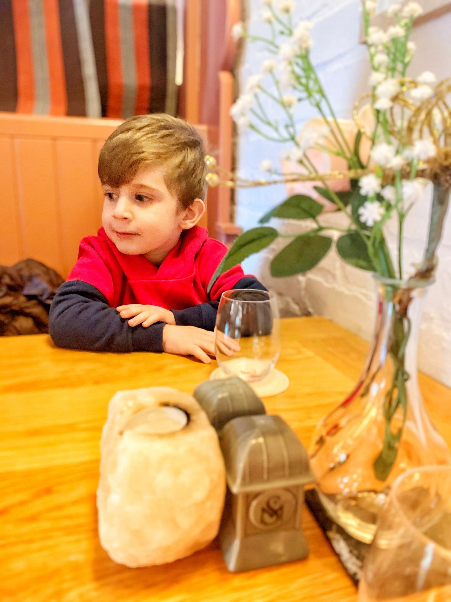 Boy waiting for Sunday lunch