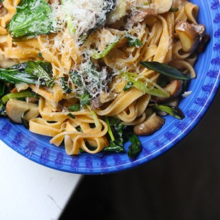 Spring pasta with ramps, porcini and taleggio
