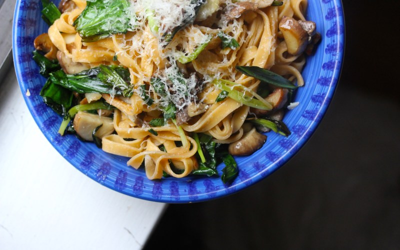 Spring pasta with ramps, porcini and taleggio
