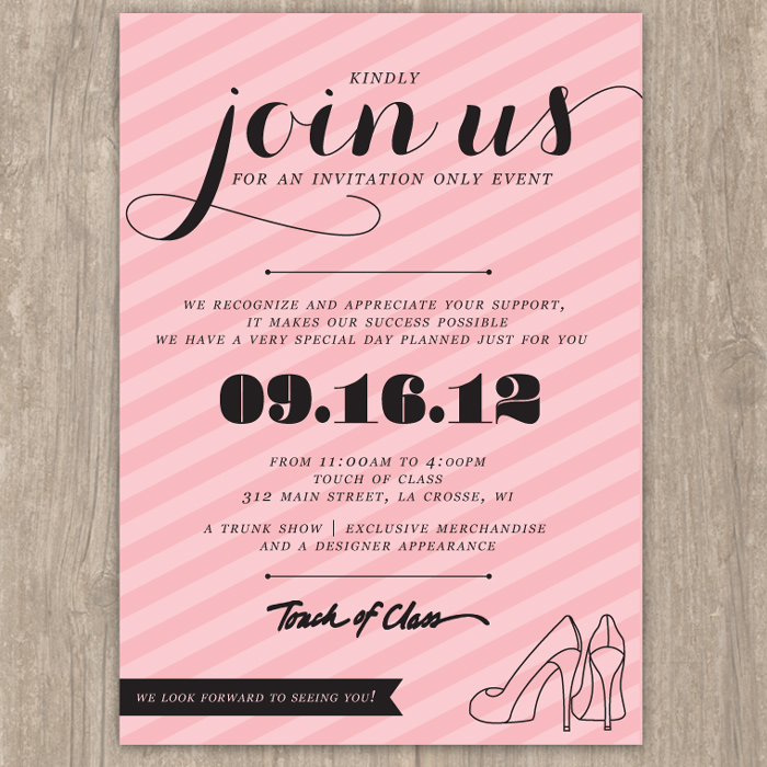pink striped event invitation saffron