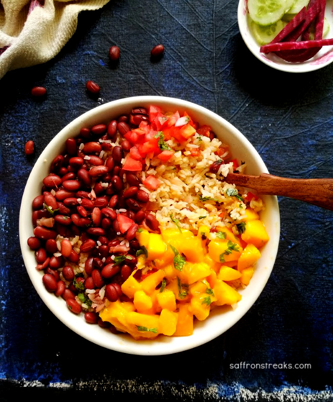 rice and beans salad with mango salsa