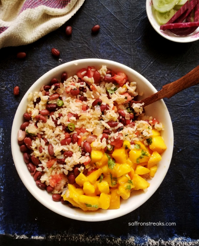 jamaican rice and beans peas with mangoes