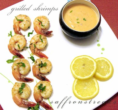 grilled roasted shrimps