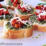 bruschetta with pesto and sundried tomato