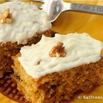 Carrot cake with cream cheese frosting and infused with orange flavours